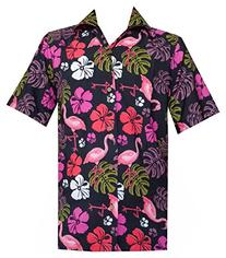 Hawaiian Shirt 37 Mens Flamingo Leaf Print Beach Aloha Party