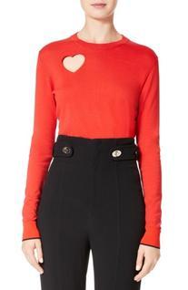 Women's Proenza Schouler Heart Cotton & Silk Blend Sweater,