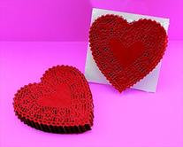 School Smart Heart Shaped Paper Lace Doilies - 4 inch - Pack