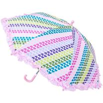 RainStoppers Girl's Heart Stripe Print Umbrella with Ruffle