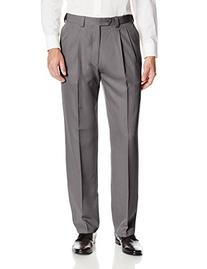 Haggar Men's Heather Stria Pleat Front Straight Fit