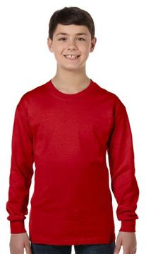 Gildan Heavy Cotton Youth Long-Sleeve T-Shirt, Red, Large