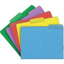 Staples Heavyweight Colored File Folders, Letter, 3 Tab, 50/