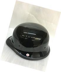 SmartDealsNow Helmet Gloss Black German Style Half Helmet