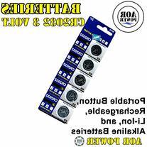 AOR Power® 3 Volt Lithium CR2032 Coin Battery, 5 Pack
