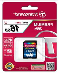 Transcend 16GB SDHC Class 10 UHS-1 Flash Memory Card Up to 60MB/s