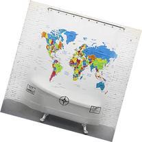 HIGOGOGO New World Map Printed Shower Curtain Fabric