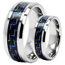 His & Her's 8mm/6mm Tungsten Carbide Wedding Band Ring Set