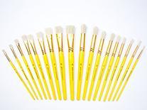 Jerry Q Art 18 pcs Pure Natural Hog Bristle Brush Set for
