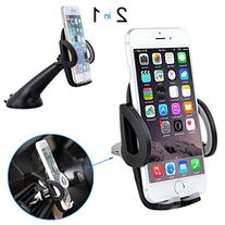 Deler Car Holder, 2 in 1 Universal Phone Mount-Padded