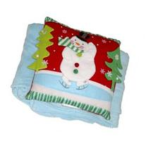 Holiday Time Pom Pom Snowman Accent Pillow & Super Soft Blue Throw Blanket Set