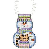 Holiday Wizzers Snowman With Cat Counted Cross Stitch Kit-3""