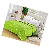 KAKA Home Comfortable Microfiber Green Moon Pattern