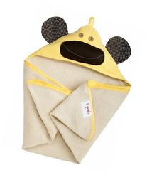 3 Sprouts Hooded Towel, Yellow Monkey