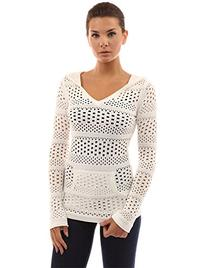 PattyBoutik Women's Hoodie Open Stitch Knit Top