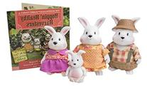 Li'l Woodzeez Hoppingoods Rabbit Family Set with Storybook