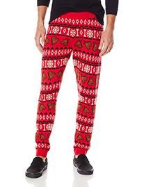 Alex Stevens Men's Horse Head Ugly Christmas Jogger Pant,