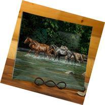 Horses Glass Platter by Chris Cummings