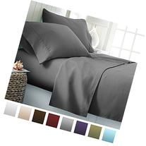 ienjoy Home Hotel Collection Luxury Soft Brushed Bed Sheet Set, Hypoallergenic, Deep Pocket, California King, Gray