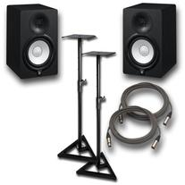 Yamaha HS7 Active Studio Monitors w Speaker Stands and TRS