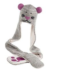 Nirvanna Designs HSMOUSE Mouse Hat Scarf, Grey, 4-10 Years