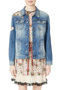 Women's Red Valentino Hummingbird Patch Denim Jacket, Size 4