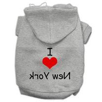 I Love New York Screen Print Pet Hoodies Grey Size XS