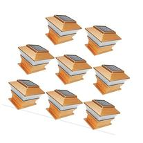 iGlow 8 Pack Copper Outdoor Garden 4 x 4 Solar LED Post Deck