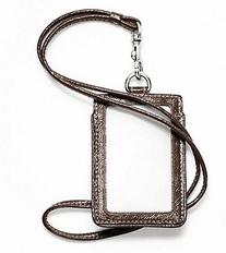 COACH ID Lanyard Case 61766 Brown Signature Stripe Patent