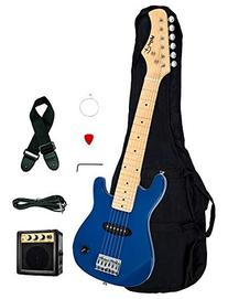 """1/2 Half Size Kids Blue 30"""" Inch Electric Guitar and"""