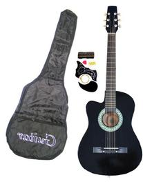 """38"""" Inch Student Beginner Black Acoustic Cutaway Guitar with"""