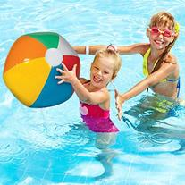 Inflatable Beach Balls - 6 Pack - Bright Rainbow Colored