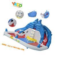 Yard Inflatable Pool with Slide Splash Bounce House Shark