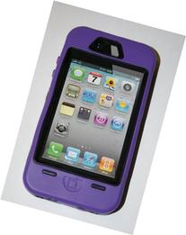Iphone 4/4s Body Armor Defender Case Black on Purple