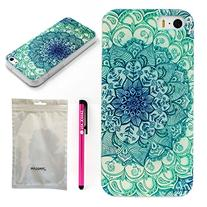 Iphone 5c Case, JAHOLAN Green Totem Flower Clear TPU Soft