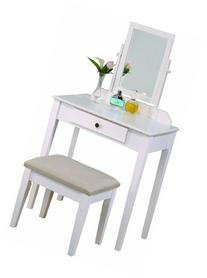 Crown Mark Iris Vanity Table/Stool, White Finish with Beige
