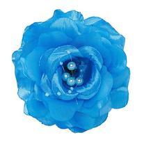 Irish Lass Rose Flower Hair Clip with Bead Details, Blue