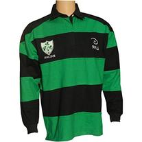 Irish Rugby Shirt for Men, Green and Blue with Shamrock