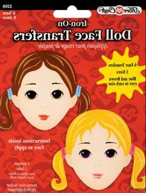 Iron-On Embroidered Doll Face Transfers 6/Pkg