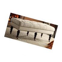 Isabelle Upholstered Bedroom Bench, Natural / Burnished