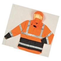TINGLEY J24129 Hi-Vis Rain Jacket w/Hood, Class 3,OR,M