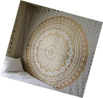 Jaipurhandloom Large Ombre Mandala Tapestry in Golden Ombre