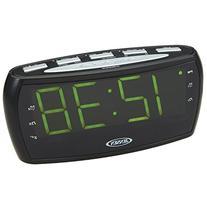 Jensen JCR-208A AM/FM Alarm Clock Radio with 1.8-Inch Green