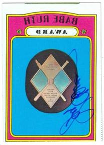 Jerry Coleman autographed baseball card  1972 Topps Babe