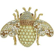 Ciner Jonquil Pave Bee Brooch