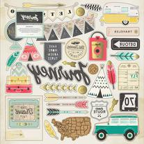 """Journey Chipboard Stickers, 12"""" x 12"""", Gold Foil Accents"""