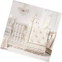 Juliette White, Ivory and Gold 4 Piece Baby Crib Bedding Set