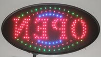 "Jumbo 24"" x 13"" LED Neon Sign with Motion - ""OPEN"" with Blue"