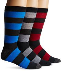 K. Bell Socks Men's Big-Tall Rugby Crew 3 Pack, black, 10