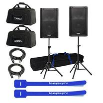 "QSC K8 8"" Powered Active Speaker Pair w/ Bags, Stands, 2 XLR"
